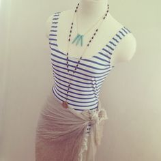 via @Taim Boutique {Just got in this cute & #nautical low-back bathing suit from #RachelPally! Throw on a scarf as a wrap and a couple necklaces to walk around the beach! #ootd #mannequins #spring #resort #fashion #style #styling}