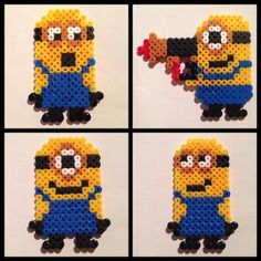 Minions hama perler beads by ibenstg Fuse Beads, Pearler Beads, Hama Beads Patterns, Beading Patterns, Minion Pattern, Pokemon Perler Beads, Iron Beads, Melting Beads, Beaded Cross Stitch