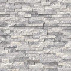 "Ledgestone Panel 6"" x 24"" - Ice Gray Marble - Natural Stone Tile"