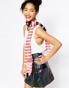 moschino logo stripe scarf  pink #pattern #print #moschino #accessories #stripes #covetme