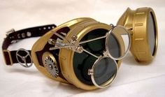 Handmade Steampunk Goggles Victorian Glasses Brass Leather Gears Red. $50.00, via Etsy.