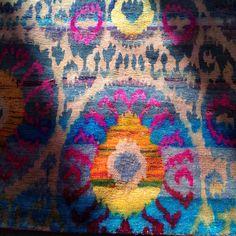 Sunlight on silk over dyed rug