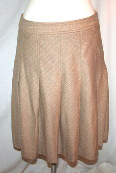 Theory Tan Pinstripe Stretch Wool Pleated Skirt