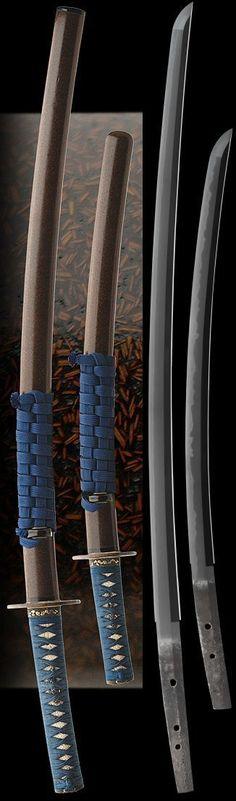 Katana siged as (mei): HEIANJO FUJIWARA 1600's. Wakizashi signed as (mei): bizen kuni ju osafune kiyo, Tensho 1573, Japan.