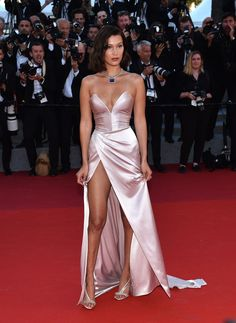 The most naked dresses ever worn at the Cannes Film Festival Bella Hadid, 2017 – CosmopolitanUK Gala Dresses, Satin Dresses, Elegant Dresses, Sexy Dresses, Strapless Dress Formal, Beautiful Dresses, Evening Dresses, Formal Dresses, Summer Dresses