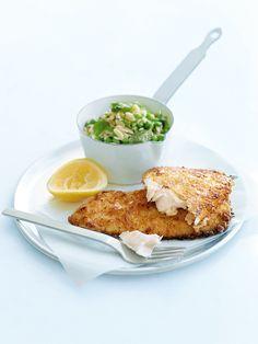 Parmesan-crumbed fish with crushed pea risoni. #food #fish #seafood