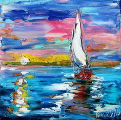Original Oil Painting Moonlight Sailing by Karensfineart