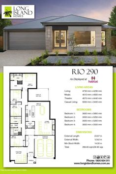 Long Island Homes 2018 Floor Plan of the Rio 290 Display as featured at Habitat estate in Tarneit, Victoria Australia 4 Bedroom House Plans, Bungalow House Plans, Family House Plans, Ranch House Plans, Dream House Plans, Small House Plans, House Floor Plans, Home Builders Melbourne, New Home Builders