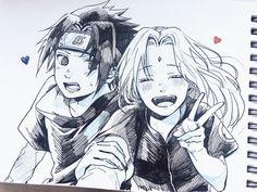 Sasuke and Sakura Anime Naruto, Naruto Fan Art, Naruto Cute, Naruto And Sasuke, Manga Anime, Kakashi, Couple Naruto, Naruto Couples, Sasuke Sakura Sarada