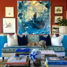 Red and blue living room .William McLure