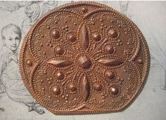 1 Antique 1930's Stamped Brass Ornamental Medallion by StarPower99, $12.80