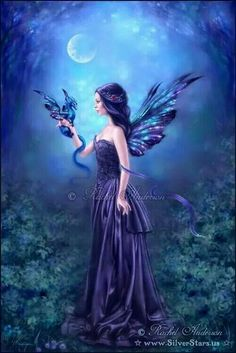 Dragon perches on the hand of a purple fairy, his tail wound around her arm, Charming...