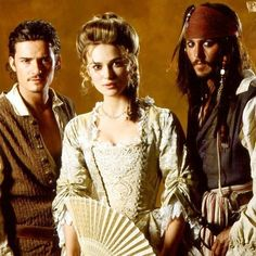 Will Turner (Orlando Bloom), Elizabeth Swann (Keira Knightley), and Captain Jack Sparrow (Johnny Depp). Keira Christina Knightley, Keira Knightley, Orlando Bloom, Narnia, Will And Elizabeth, Image Film, Pirate Life, Pirate Talk, Actrices Hollywood