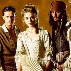 Orlando Bloom, Keira Knightley, Johnny Depp in Pirates of the Caribbean