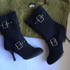 Black mid-calf boots Faux suede, brand new, buckle detail and inside zipper Shoes Heeled Boots