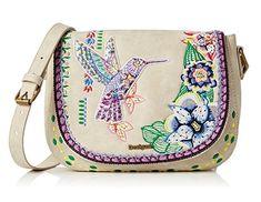 #Desigual Tasche - Modell Varsovia. Muster: floral, ethnisch, exotisch, weiß.