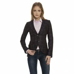 A beautiful navy #linen #blazer with a pink check. The style is Lily - a tailored fitting garment. Features include - 2 buttons, 1960's lapels, slant pockets with an outer ticket pocket and side vents.