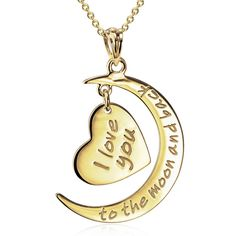 925 Sterling Silver Moon and Star Jewelry Love Necklace Back Necklace, Love Necklace, Gold Pendant Necklace, Necklace Types, Gold Pendants, 18k Gold Chain, Gold Chains, Star Jewelry, Fashion Jewelry Necklaces