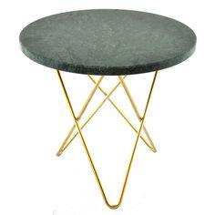 Tall Mini O sidobord, grön marmor/mässing i gruppen Möbler / Bord / Sidobord & Småbord hos RUM21.se (130038)