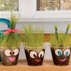 Grass heads are a fun way for the kids to enjoy gardening (and craft) that produce fast results. All you need is potting soil and grass seeds. Put soil in first and put the seeds on top. Water daily and watch as the grass grows! This activity is best in a plastic cup so that kids can decorate with their own faces.