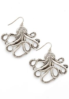 My Pet Octopus Earrings. Meet your new best friends - a pair of cephalopods to swim above your chic attire while you go about your business.  #modcloth