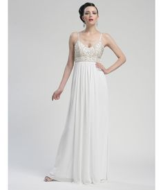 Grecian White Empire Waist Chiffon Gown - Unique Vintage - Cocktail, Pinup, Holiday & Prom Dresses.