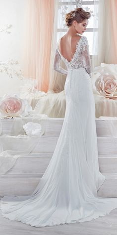 Beautiful And Romantic Nicole Spose Wedding Dresses 2018 ❤ sheath with open back and long sleeves and train nicole spose weddin dresses Full gallery: https://weddingdressesguide.com/nicole-spose-wedding-dresses/