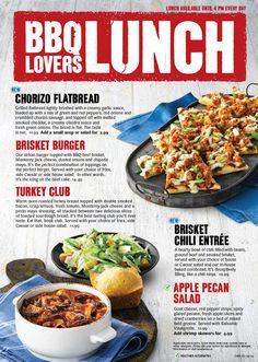 Lunch menu design Food Graphic Design, Menu Design, Bbq Bar, Grilled Flatbread, Food Posters, Creamy Garlic Sauce, Chorizo Sausage, Food Concept, Lunch Menu