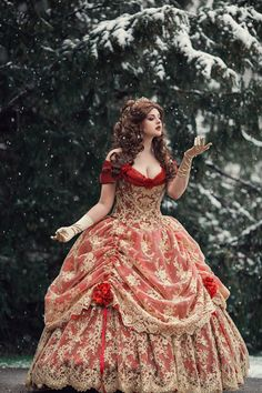 Couture Corset Elaborate Belle Beauty and the Beast inspired gown! Red/gold lace Custom - Couture Corset Elaborate Belle Beauty and the Beast inspired gown! Medieval Dress, Wedding Dress Black, Wedding Dresses, Wedding Flowers, Victorian Gown, Victorian Gothic, Gothic Lolita, Belle Beauty And The Beast, Fantasy Gowns