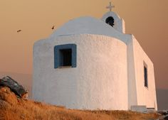 Church in the sunset Corinthian, Worship, Cool Photos, Greece, Island, Explore, Sunset, Country, World