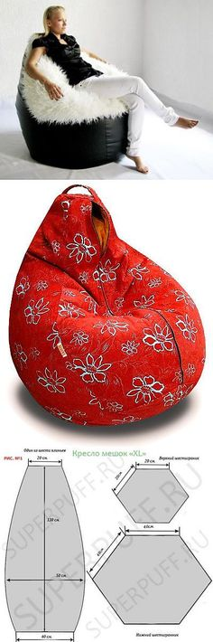 Diy beanbag chair with back; pattern and dimensions. Sewing Hacks, Sewing Tutorials, Sewing Patterns, Fabric Crafts, Sewing Crafts, Sewing Projects, Diy Couture, Diy Projects To Try, Soft Furnishings