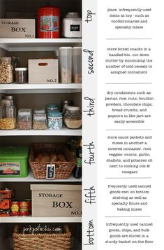 Great Pantry tips for organizing from top to bottom! I want my pantry to be like this! And love the vintage looking storage boxes too by marina Organisation Hacks, Closet Organization, Kitchen Organization, Household Organization, Organizing Your Home, Organizing Ideas, Pantry Storage, Storage Boxes, Pantry Closet