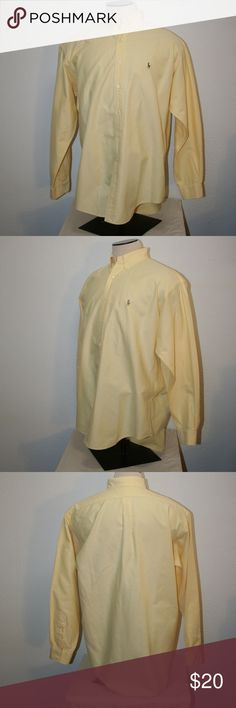 """RALPH LAUREN Mens BLAKE Large Yellow Shirt Polo Ralph Lauren  Blake  Excellent Condition - No Stains or Holes  Casual Style Shirt  Long Sleeves  Large  Yellow  Logo on Chest    Chest:  55"""" (armpit to armpit then doubled)  Sleeve Length:  25""""  Length:  33 1/2""""  100% Cotton Polo by Ralph Lauren Shirts Casual Button Down Shirts"""