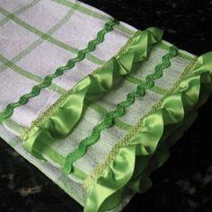 $1 hand towel + a little trim = super cute hand towel!
