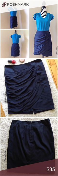 Coquile Navy Elegant Skirt Like New. No stains, No rips, No holes. Feel free to ask questions or make an offer. Measurements to come. 🚫NO TRADES🚫 Anthropologie Skirts