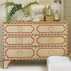 Somerset Bay Big Pine Key Chest @LaylaGrayce Escape to Somerset Bay and enter a realm where timeless designs and evocative textures blend seamlessly to create a relaxed and elegant place to live, entertain or escape.  Like its namesake, the three-drawer Big Pine Key chest is full of fun and frivolity with a lively bamboo-inspired design and ornate scrolled feet.