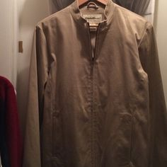 Eddie Bauer tan cotton lined woven jacket - washbl Nice cotton jacket lightly worn, zipper, short standup collar with 2, pockets in front on the seams for seamless lines. Womens Eddie Bauer Jackets & Coats