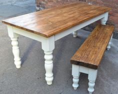 A lovely x farmhouse table handmade to order with a reclaimed timber plank top. The table has chunky 5 turned legs and one matching bench Kitchen Table Bench, Farmhouse Table With Bench, Farmhouse Living Room Furniture, Dining Table With Bench, Country Kitchen Farmhouse, Dining Tables, Modern Farmhouse, Farmhouse Kitchen Light Fixtures, Dining Room Storage