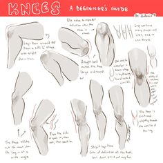 How to draw Knees - human anatomy - Drawing Reference Drawing Legs, Body Drawing, Anatomy Drawing, Human Anatomy, Figure Drawing, Girl Anatomy, Face Anatomy, Animal Anatomy, Drawing Faces