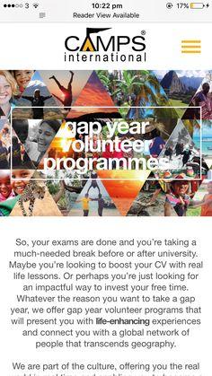 Gap Year Volunteer Programmes Camps International Group Limited Gap Year Gap Year Programs Gap Year Plan
