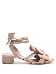 Dahlia floral-detail suede block-heel sandals | Olgana Paris | MATCHESFASHION.COM US