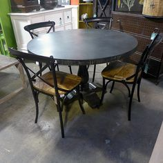 ac4a6c0c65023 Iron and Wood Dining Table - Nadeau Chicago
