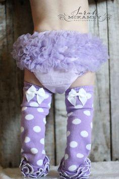 Purple Polka Dot Leggings Baby Leg Warmers by 3LoveliesBowtique, $10.95