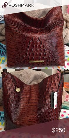 """Brahmin Harrison Hobo Bag in Pecan Brand New. Color is Pecan Melbourne. Genuine Leather. The top zips and there is a zippered pocket on one side. Bottom has protective feet. Inside has one zip pocket and 2 slip pockets. Measurements: 11.5""""L x 12.5""""H x 5""""W. 100% AUTHENTIC. Purchased from Dillards. Brahmin Bags Hobos"""
