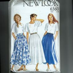 (c) 1990: Sz 8-20; Cut 18; New Look 6560; Pleated or gathered full skirt with set-on waistband and back zipper.  Lower-calf length.