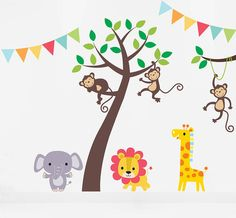 Nursery Wall Decal - Children's Wall Decals - Kids Room Wall Art - Turtle Decal - Hippo Decal - Tree Decal - Safari Decals - x Childrens Wall Decals, Kids Room Wall Decals, Nursery Wall Decals, Nursery Room Decor, Bedroom Kids, Baby Bedroom, Wall Decor, Jungle Wall Stickers, Wall Stickers Animals