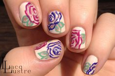 LacqLustre: Graphic Rose Floral Nail Art -- doing this as soon as it's spring! Crazy Nail Art, Crazy Nails, Fun Nails, Rose Nails, Flower Nails, Toe Nail Art, Acrylic Nails, Rose Nail Design, Floral Nail Art