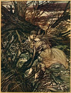 """Arthur Rackham """"Undine"""" (1909) """"The knight took the beautiful girl in his arms and bore her over the narrow space where the stream had divided her little island from the shore"""""""