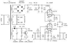 Принципиальная схема лампового усилителя для низкоомных наушников