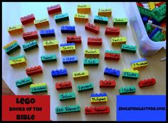 Learning the books of the Bible with Legos. Different color for each part of the bible (history, law, etc.)